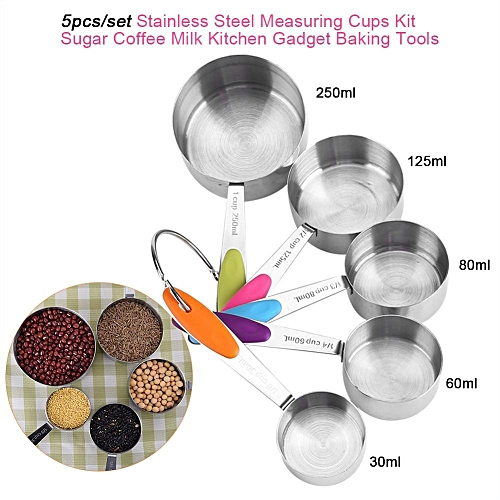 5pcs/set Stainless Steel Measuring Cups Kit Sugar Coffee Milk Kitchen Gadget Baking Tools