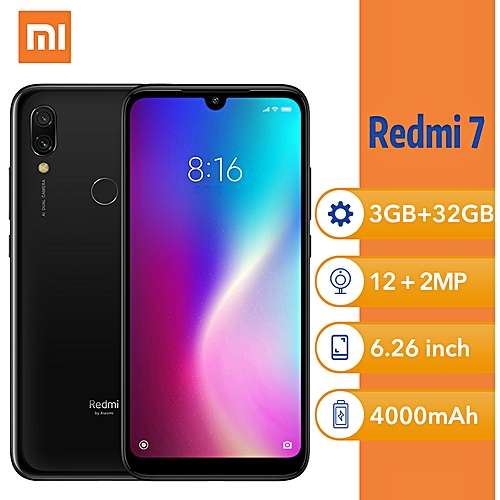 "Redmi 7 6.26"" (3GB, 32GB ROM) Android 12MP + 2MP - Black"