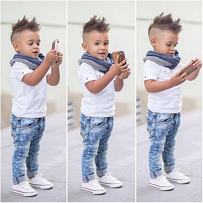 4789cdf4b Fashion Toddler Kids Boys Gentleman Tees Pants Clothes Outfits Set ...