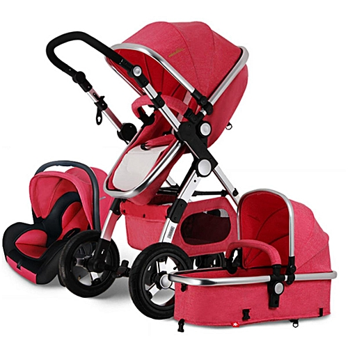 3 In 1 Pro Baby Stroller High View Pram Foldable Pushchair Bassinet & Car Seat #red