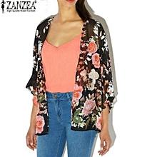 55583076421 ZANZEA Womens Casual Loose Chiffon Kimono Tops Vintage Floral Printed  Cardigan Blouses Shirts Plus Size