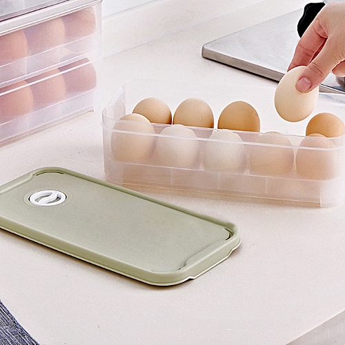 Braveayong Single Layer Refrigerator Food 10 Eggs Airtight Storage Container Plastic Box -light Green
