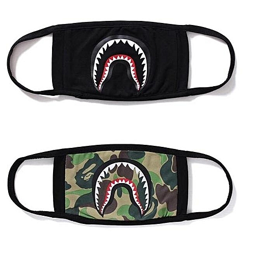2pcs Men & Women Fashion Accessories Bape Shark Mask Cotton Sports Outdoor Face Guard