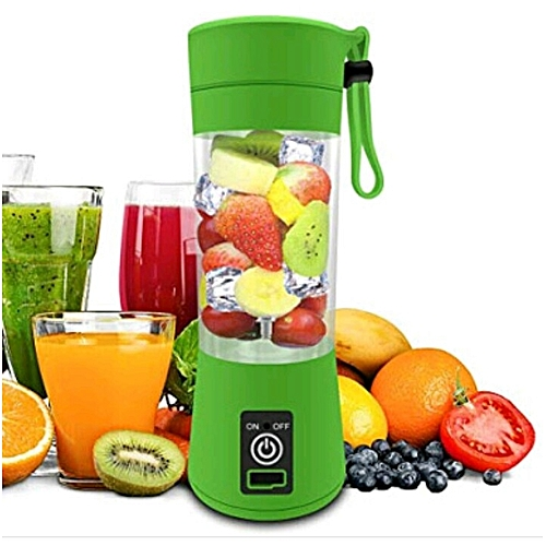 Portable Rechargeable USB Fruit Juicer Mini Blender Smoothie Maker And Fruit Extractor Squeezer - Lemon Green