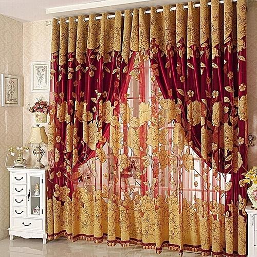 Windows Curtain Tulle Jacquard Tulip Flower Sheer Window Curtain Beads Tassel Door Scarf Drapes Valance