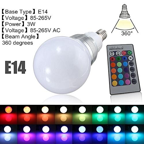 E14 Dimmable RGB Color LED Lamp Spot Light Remote Control 110V US