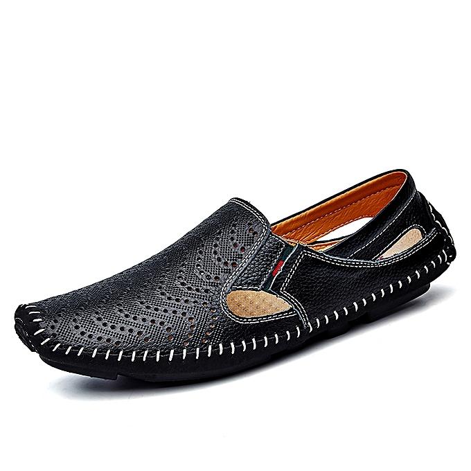Fashion Men Shoes Men S Cut Out Leather Shoes Driving Shoes Black