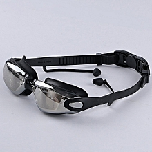 202cadb300b5 Silicone Swimming Goggles Waterproof Swimming Glasses Anti Fog Mirror Black