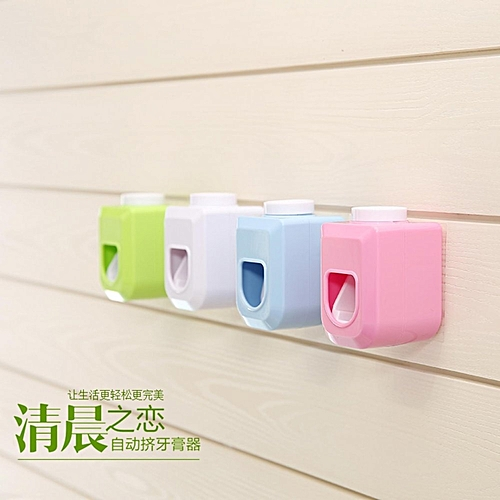 Casual Toothbrush Holder Set Wall Mount Automatic Auto Toothpaste Dispenser-Green