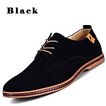 Men  039 s Casual Leather Lace-up Shoes - Black 8e851274e709