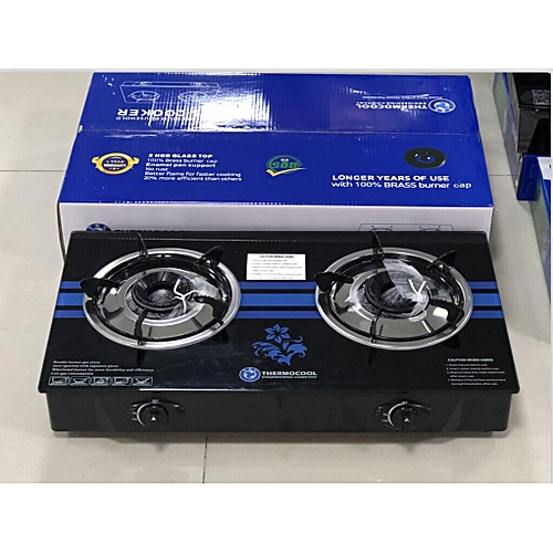 Thermocool Table Top Gas Cooker-Double Burner Glass
