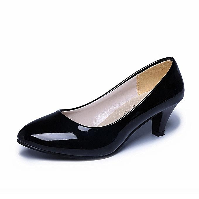 Neworldline Nude Shallow Mouth Women Office Work Heels Shoes Elegant