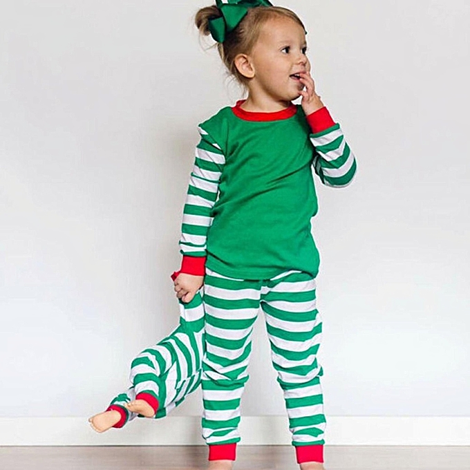 Xmas Baby Boy Girl Kids Nightwear Pajamas Pjs Sleepwear Outfits Set Clothes  Suit(Green) a6425b10b