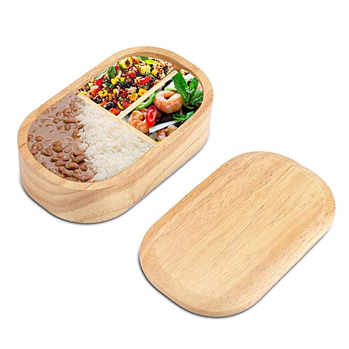 Japanese Portable Natural Healthy Wooden Bento Box For Store Lunch(Rectangle)