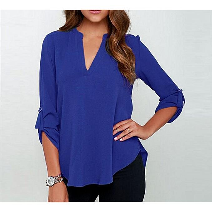 Chiffon Top Fashion Women Office Casual Loose V Neck Sexy Long Sleeve Shirt  - Royal Blue 6752589884