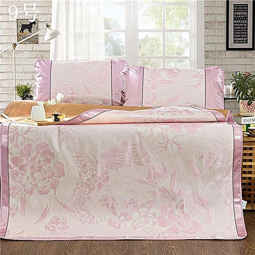 Ice Silk Mat Three Piece Fashion Folding Mat Non-slip Mat-pink