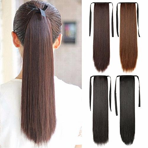 Generic Fiber Drawstring Long Straight Wig Ponytail 081f3776d2