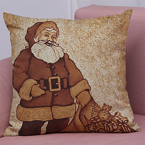 Lodaon New Christmas Cotton Linen Pillow Case Sofa Cushion Cover Home Decor