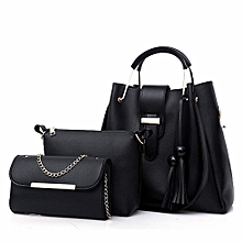 3 In 1 Leather Handbag With Chain Purse Black