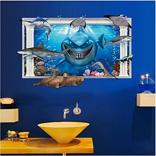 Miico 3D Creative PVC Wall Stickers Home Decor Mural Art Removable Submarine World Wall Decals