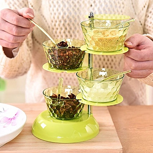 4 Layer Rotating Plastic Spice/ Condiments Rack- Green