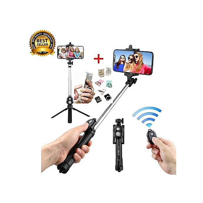 Bluetooth Remote Controller Hand-held Selfie Stick Tripod  Perfect For  Pictures, Video Recording  Compatible With Android & IOS Phones + IRing  Phone