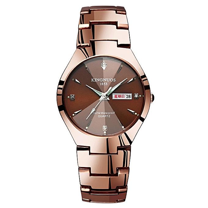 Kingnuos Fashion Mens Watch Good Quality Stainless Steel Wristwatch Dual Calendar Waterproof Auto Date Quartz Watch Men Watches Men's Watches