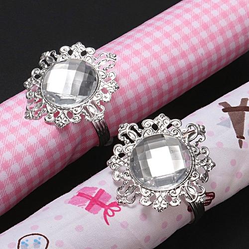 10pcs Diamond Napkin Ring Serviette Holder Wedding Banquet Dinner Decoration