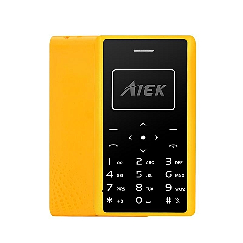 Aiek X7 0.96 Inch 320mAh LED Torch 4.8mm Thickness Mini Card Mobile Phone Yellow