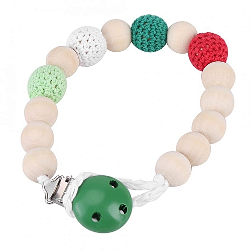 Infant Pacifier Holder Crochet Wooden Beads Chain Metal Clip Baby Shower Feeding Toy (Green)