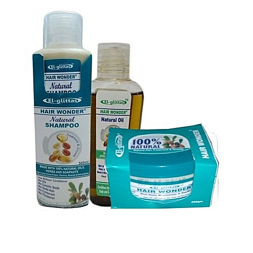 Hair Wonder Oil, Cream With Shampoo Combo-(3Pcs)