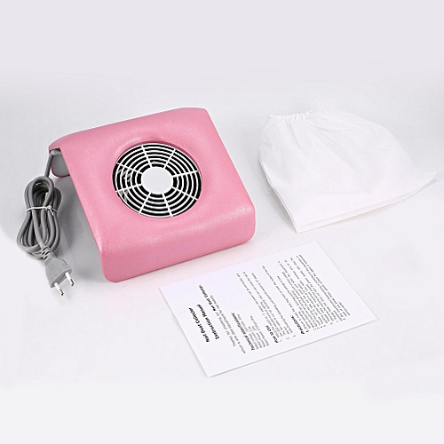 Nail Manicure Dust Collector 2700rpm Salon Art Polish Cleaner Fan Clean Tool Pink EU