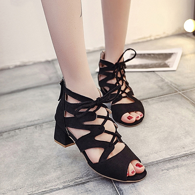 6b94662739f Fashion Women Ladies Sandals Ankle Square Heels Block Party Open Toe Shoes(CN  Size)