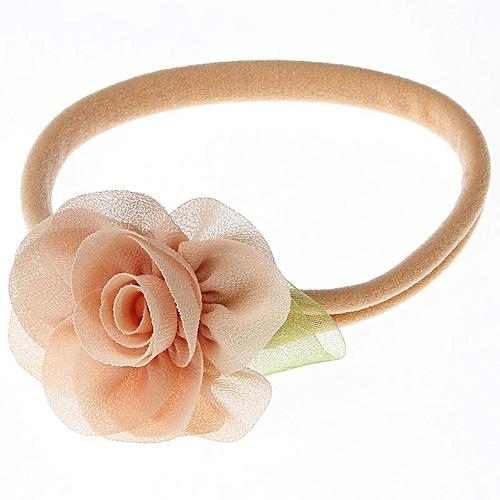 Cute Toddler Baby Girls Flower Headband Newborn Floral Headwear Flower Hair Band For Infant-Peach