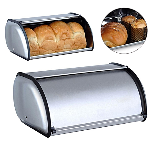 Stainless Steel Bread Box Storage Bin Keeper Food Kitchen Container 34x21x14.5cm