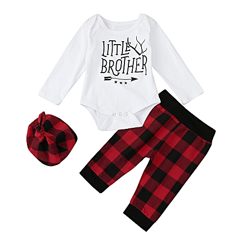fashion baby outfit newborn infant baby boy letter romper tops plaid