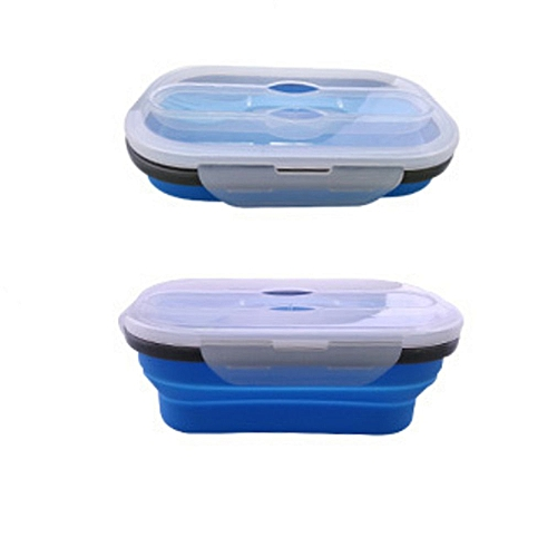 Silicone Collapsible Bento Lunch Box Silicone Food Box Food Storage Containers Blue