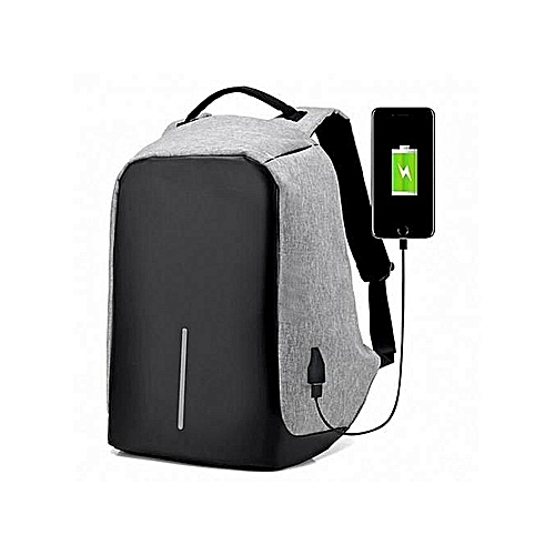 95b9654b9db8 Anti Theft Laptop Backpack Bag With USB Charging Port- Grey