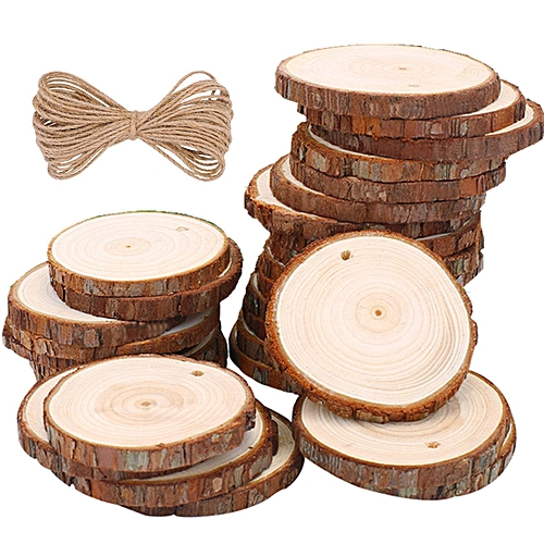 Wood Slices Natural Wood Slices Wood Discs Wood Log Slices With Hole & Jute Twine For Centerpieces Coasters Christmas Ornaments DIY Crafts ( 5-6cm 30 Pcs )