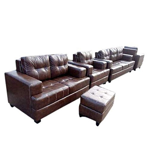 Omega 7 Seater Leather Set With Free Ottoman