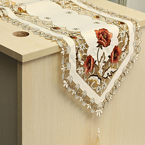 Luxury Flower Bed Table Runner Tablecloth Flag Tassel Home Wedding Party Decor