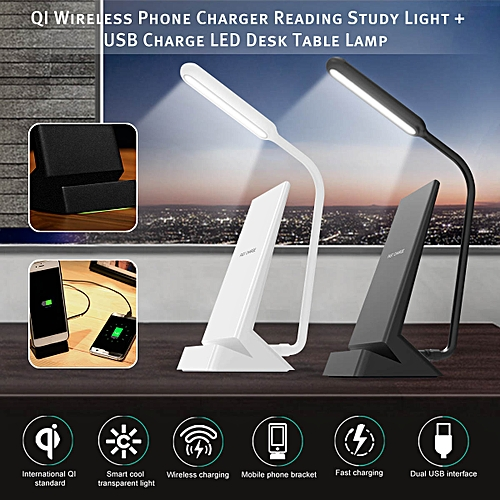LED USB Charge Desk Table Lamp QI Wireless Phone Charger Reading Light Bedroom