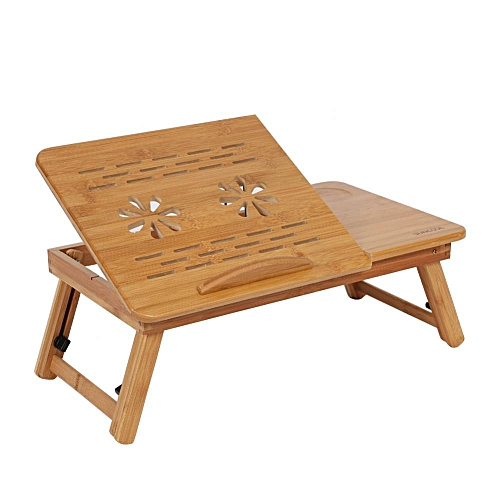 Foldable Bamboo Laptop Desk Table Adjustable Breakfast Bed Serving Tray