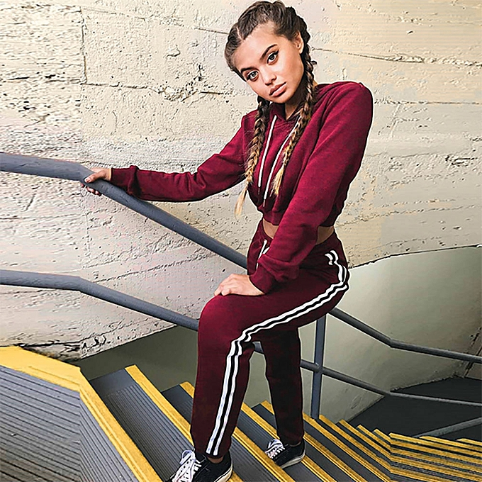 f81cb56088bd3 2Pcs New Women Ladies Tracksuit Hoodies Sweatshirt Pants Sets Sport Wear  Casual Suit