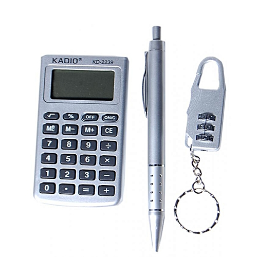 Pen, Padlock & Calculator Set- Grey