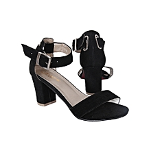 63fea774b875 Ladies Ankle Strap Moderate Block Heel Sandal-Black