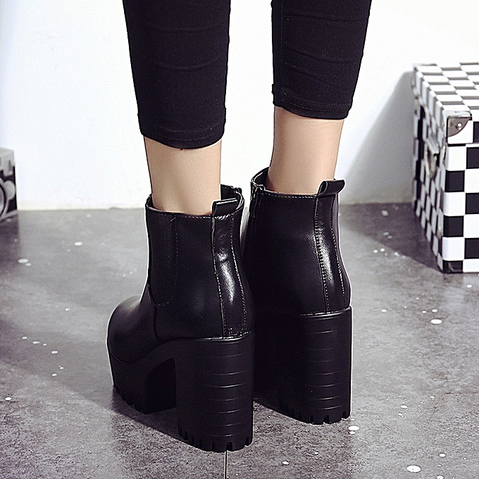 996d244f50 Women Boots Square Heel Platforms Leather Thigh High Pump Boots Shoes BK 35