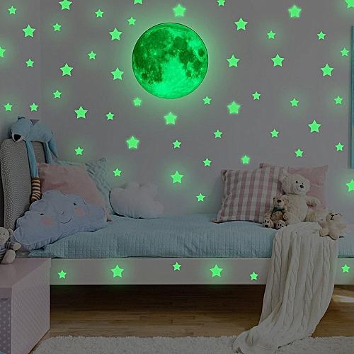 Glow In Dark Wall Ceiling Stars Moon Stickers Wall Stickers Night Kid Home Decor-Green