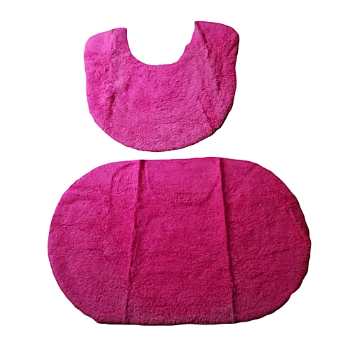Pink Oval Bathmat And Pedestal Set