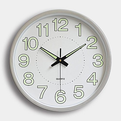 12'' Wall Clock Glow In The Dark Silent Quartz Indoor/Outdoor White Noctilucent